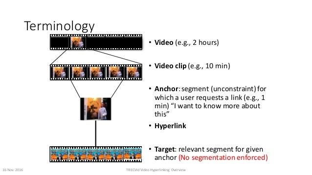 Terminology • Video (e.g.,2hours) • Videoclip (e.g.,10min) • Anchor:segment(unconstraint)for whichauserrequest...
