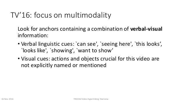 TV'16:focusonmultimodality Lookforanchorscontainingacombinationofverbal-visual information: • Verballinguistic...