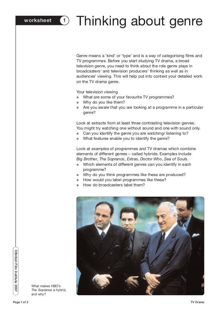 TV drama worksheets – Drama Worksheets