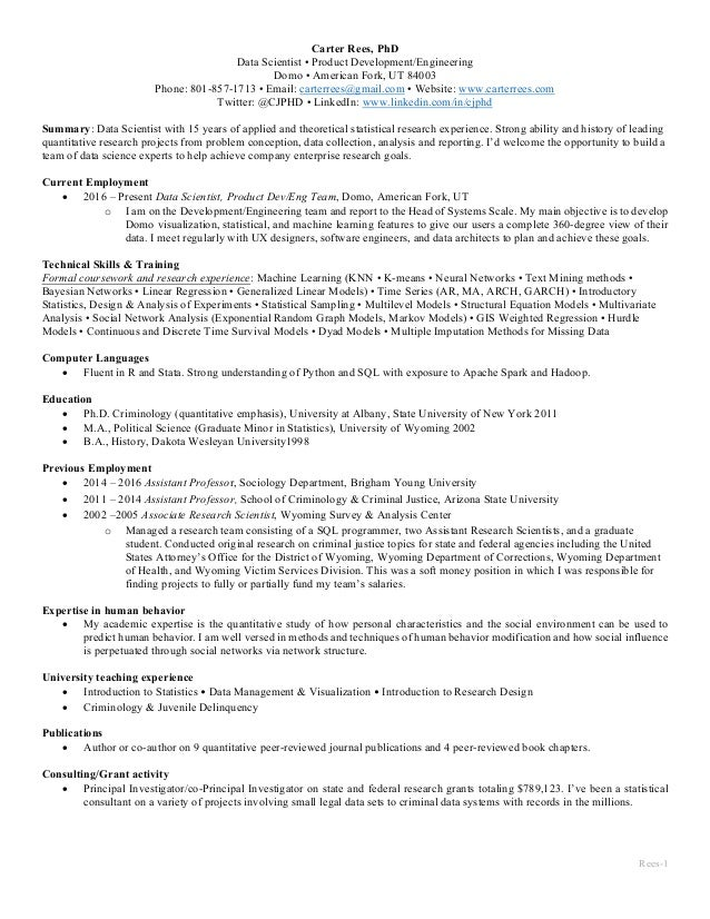 Data Scientist Resume Rees Carter Rees Phd Data Scientist Product