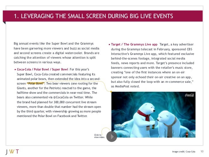 1. LEVERAGING THE SMALL SCREEN DURING BIG LIVE EVENTSBig annual events like the Super Bowl and the Grammys                ...