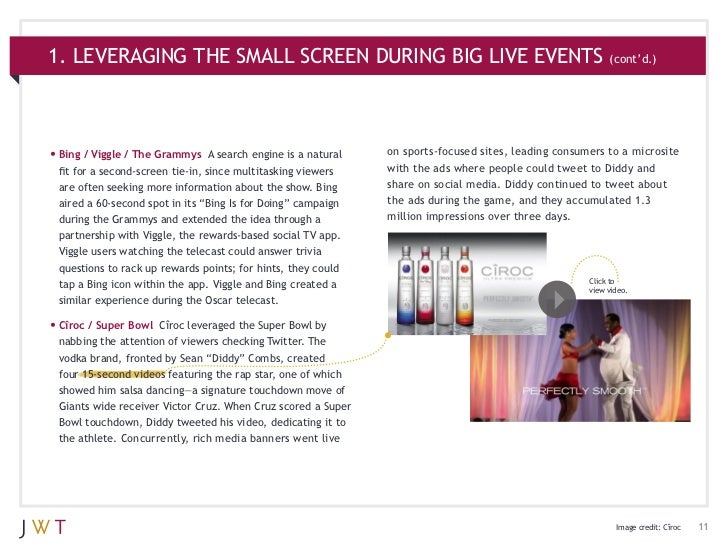 1. LEVERAGING THE SMALL SCREEN DURING BIG LIVE EVENTS (cont'd.)•Bing / Viggle / The Grammys     A search engine is a natu...
