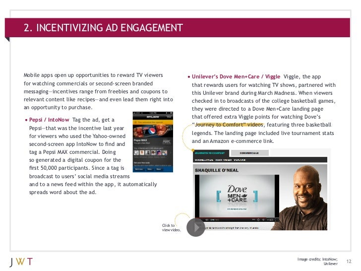 2. INCENTIVIZING AD ENGAGEMENTMobile apps open up opportunities to reward TV viewers                •Unilever's Dove Men+...
