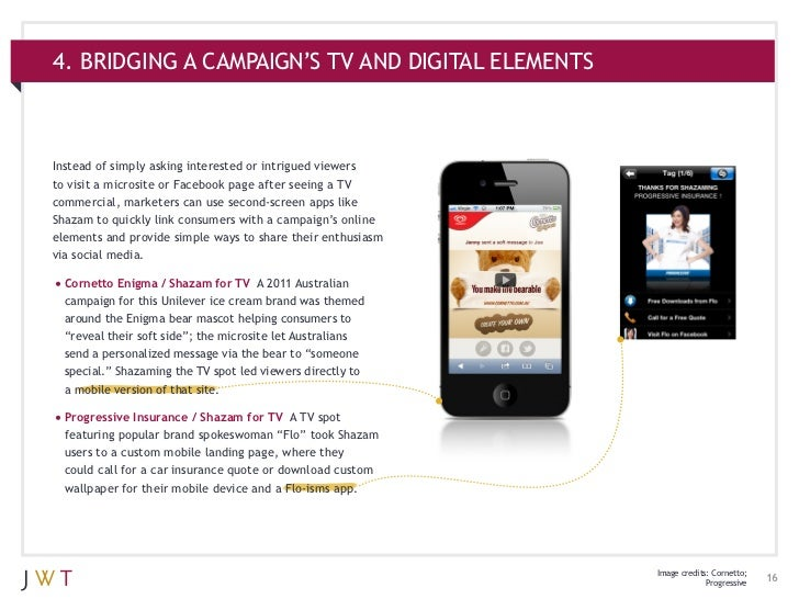 4. BRIDGING A CAMPAIGN'S TV AND DIGITAL ELEMENTSInstead of simply asking interested or intrigued viewersto visit a microsi...