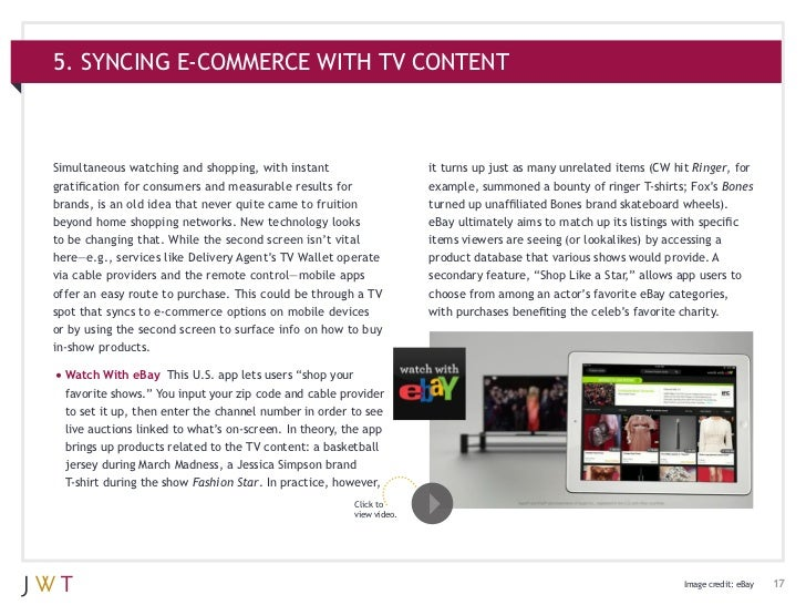 5. SYNCING E-COMMERCE WITH TV CONTENTSimultaneous watching and shopping, with instant                      it turns up jus...