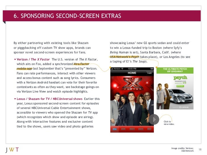 6. SPONSORING SECOND-SCREEN EXTRASBy either partnering with existing tools like Shazam            showcasing Lexus' new GS...