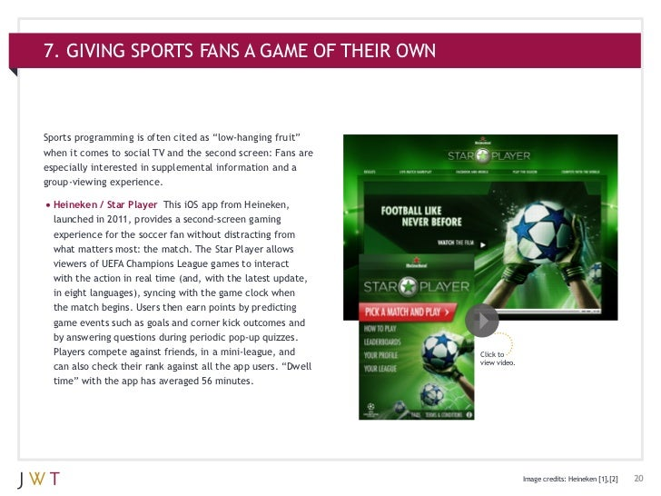 """7. GIVING SPORTS FANS A GAME OF THEIR OWNSports programming is often cited as """"low-hanging fruit""""when it comes to social T..."""
