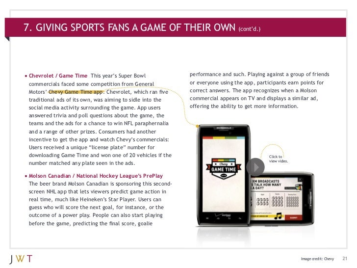 7. GIVING SPORTS FANS A GAME OF THEIR OWN (cont'd.)•Chevrolet / Game Time    This year's Super Bowl            performanc...
