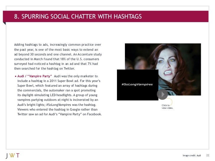 8. SPURRING SOCIAL CHATTER WITH HASHTAGSAdding hashtags to ads, increasingly common practice overthe past year, is one of ...