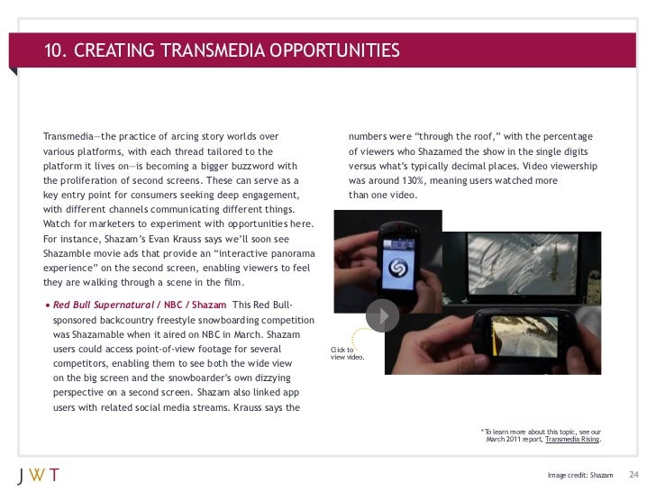 """10. CREATING TRANSMEDIA OPPORTUNITIESTransmedia—the practice of arcing story worlds over               numbers were """"throu..."""