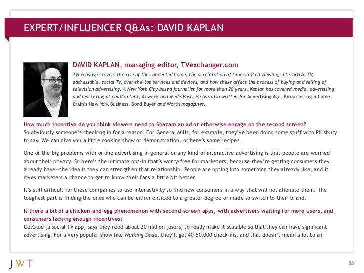 EXPERT/INFLUENCER Q&As: DAVID KAPLAN                    DAVID KAPLAN, managing editor, TVexchanger.com                    ...
