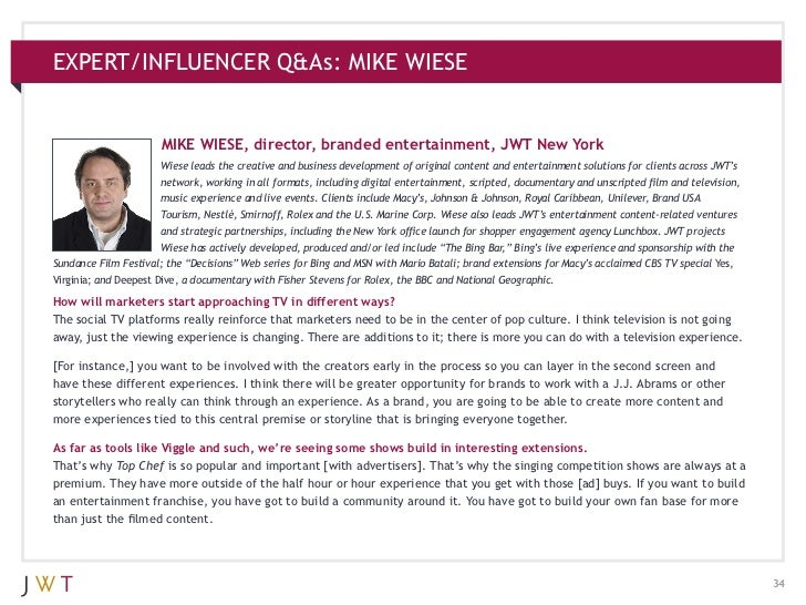 EXPERT/INFLUENCER Q&As: MIKE WIESE                      MIKE WIESE, director, branded entertainment, JWT New York         ...