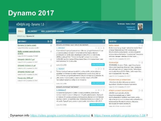 Dynamo 2017 Dynamon info https://sites.google.com/metodix.fi/dynamo/ & https://www.edelphi.org/dynamo-1.0# !