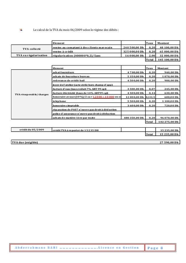 Le calcul de la TVA du mois 06/2009 selon le régime des débits : Element Taux Montant ventes au comptant à des clients mar...