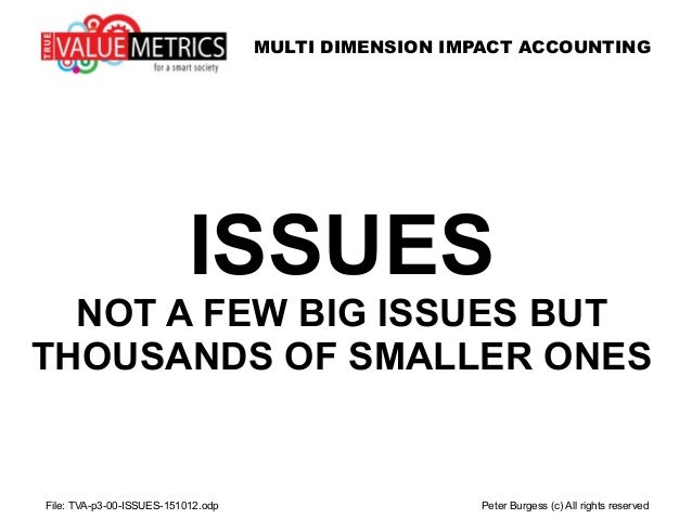 MULTI DIMENSION IMPACT ACCOUNTING ISSUES NOT A FEW BIG ISSUES BUT THOUSANDS OF SMALLER ONES File: TVA-p3-00-ISSUES-151012....