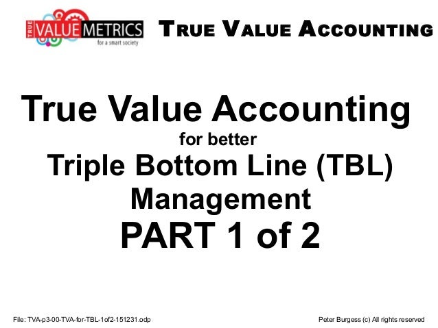 File: TVA-p3-00-TVA-for-TBL-1of2-151231.odp Peter Burgess (c) All rights reserved True Value Accounting for better Triple ...