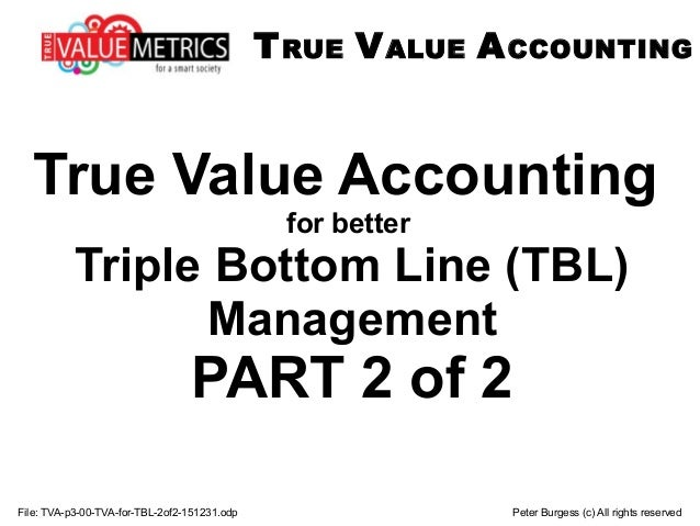File: TVA-p3-00-TVA-for-TBL-2of2-151231.odp Peter Burgess (c) All rights reserved True Value Accounting for better Triple ...