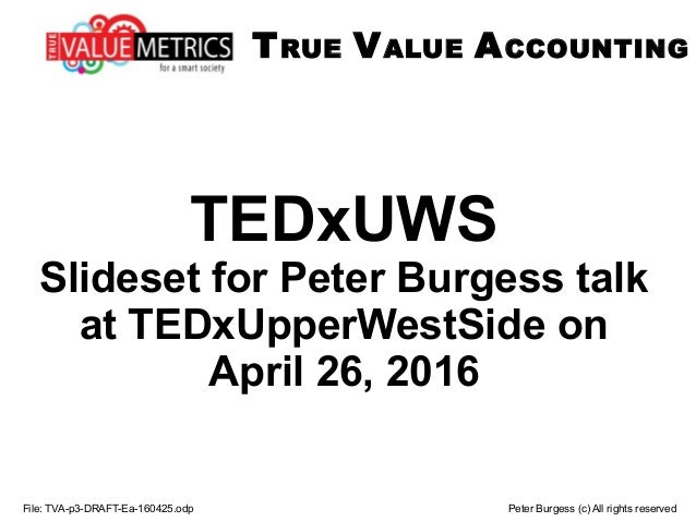 TEDxUWS Slideset for Peter Burgess talk at TEDxUpperWestSide on April 26, 2016 File: TVA-p3-DRAFT-Ea-160425.odp Peter Burg...
