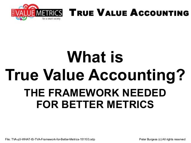 File: TVA-p3-WHAT-IS-TVA-Framework-for-Better-Metrics-151103.odp Peter Burgess (c) All rights reserved What is True Value ...