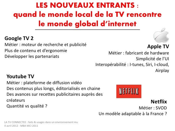 LES NOUVEAUX ENTRANTS :       quand le monde local de la TV rencontre             le monde global d'internetGoogle TV 2Mét...