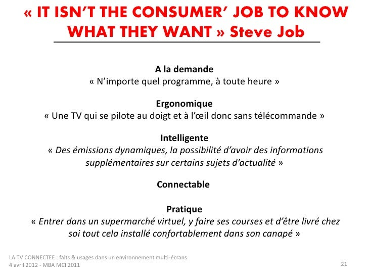 « IT ISN'T THE CONSUMER' JOB TO KNOW            WHAT THEY WANT » Steve Job                                             A l...