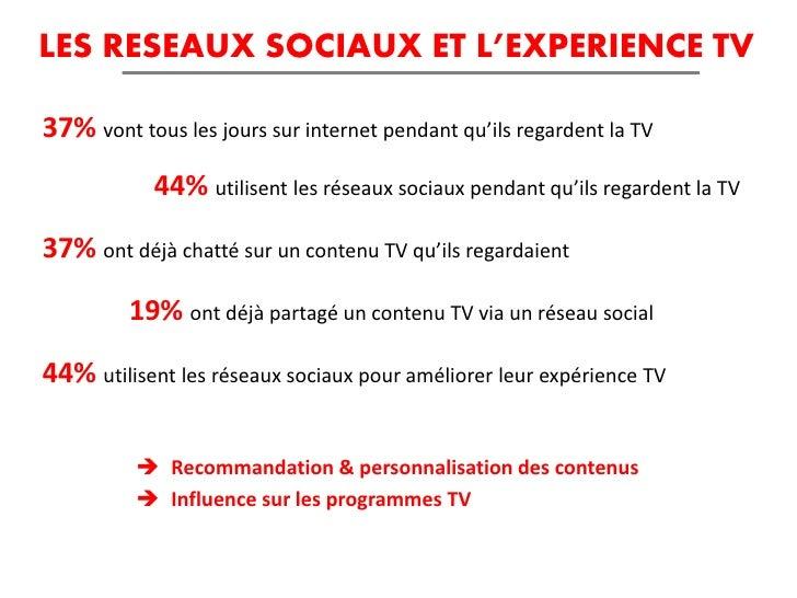 LES RESEAUX SOCIAUX ET L'EXPERIENCE TV37% vont tous les jours sur internet pendant qu'ils regardent la TV            44% u...