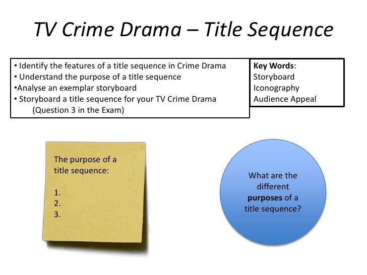 TV Crime Drama – Title Sequence• Identify the features of a title sequence in Crime Drama     Key Words:• Understand the p...
