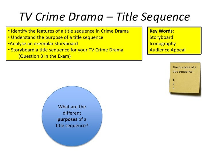 TV Crime Drama – Title Sequence• Identify the features of a title sequence in Crime Drama   Key Words:• Understand the pur...