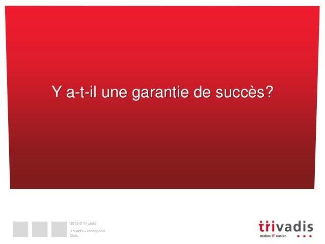 Y a-t-il une garantie de succès?  2013 © Trivadis  Trivadis – l'entreprise Date