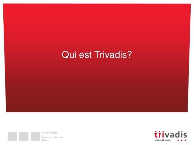 Qui est Trivadis?  2013 © Trivadis  Trivadis – l'entreprise Date