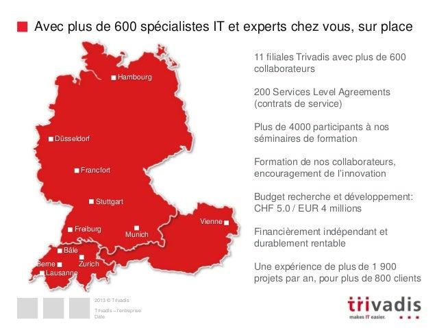 Avec plus de 600 spécialistes IT et experts chez vous, sur place 11 filiales Trivadis avec plus de 600 collaborateurs Hamb...