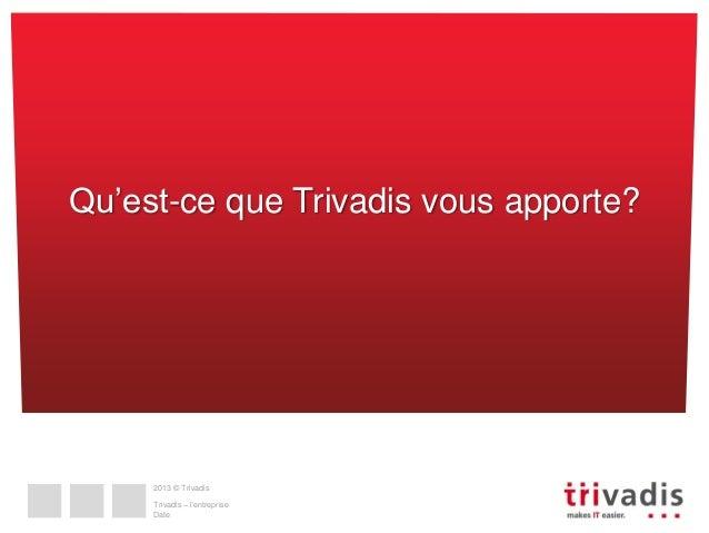 Qu'est-ce que Trivadis vous apporte?  2013 © Trivadis  Trivadis – l'entreprise Date