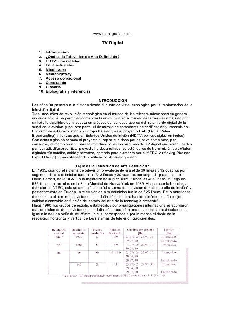 www.monografías.com                                          TV Digital    1.    Introducción    2.    ¿Qué es la Televisi...