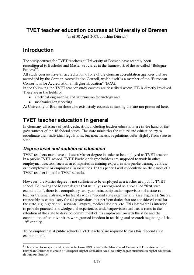 1/19 TVET teacher education courses at University of Bremen (as of 30 April 2007, Joachim Dittrich) Introduction The study...