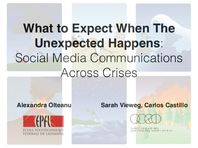 What to Expect When The Unexpected Happens: Social Media Communications Across Crises ! Alexandra Olteanu Sarah Vieweg, Ca...