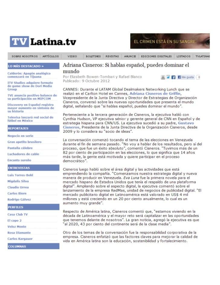Adriana Cisneros: Si hablas español, puedes dominar el mundo