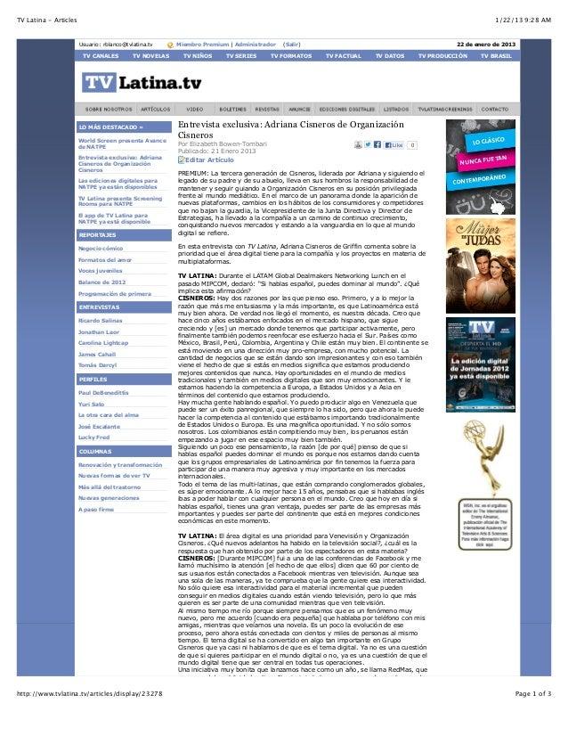 TV Latina - Articles                                                                                                      ...