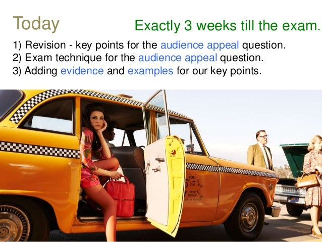 1) Revision - key points for the audience appeal question. 2) Exam technique for the audience appeal question. 3) Adding e...