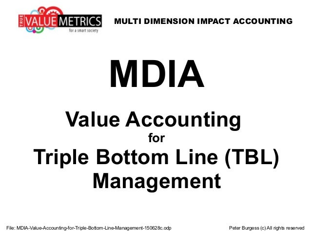 MULTI DIMENSION IMPACT ACCOUNTING File: MDIA-Value-Accounting-for-Triple-Bottom-Line-Management-150628c.odp Peter Burgess ...