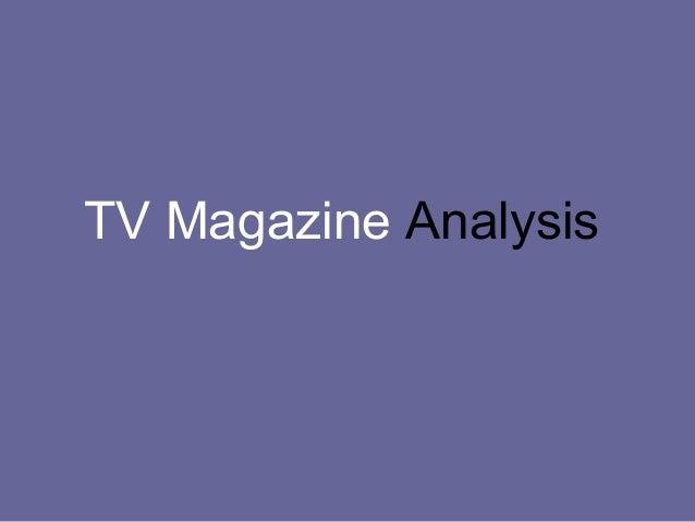 TV Magazine Analysis