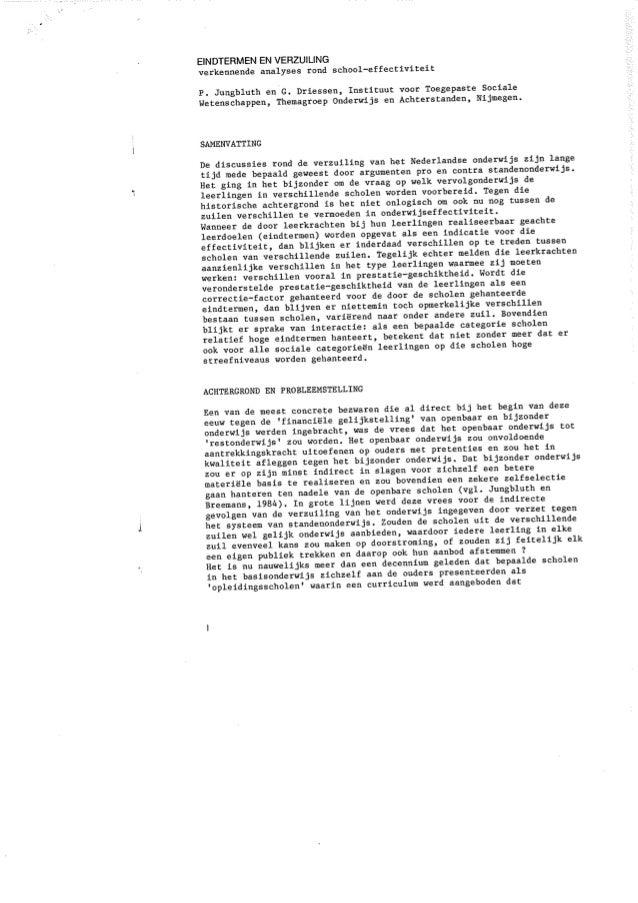 Paul Jungbluth & Geert Driessen (1987) TvOW Eindtermen en verzuiling. Verkennende analyses rond schooleffectiviteit.