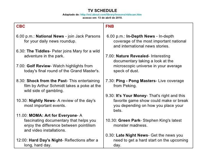 TV SCHEDULE Adaptado de:  http://esl.about.com/library/lessons/nblscan.htm   acesso em: 13 de abril de 2010. FNB 6.00 p.m....