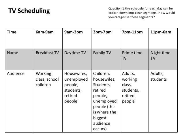 Tv scheduling activity