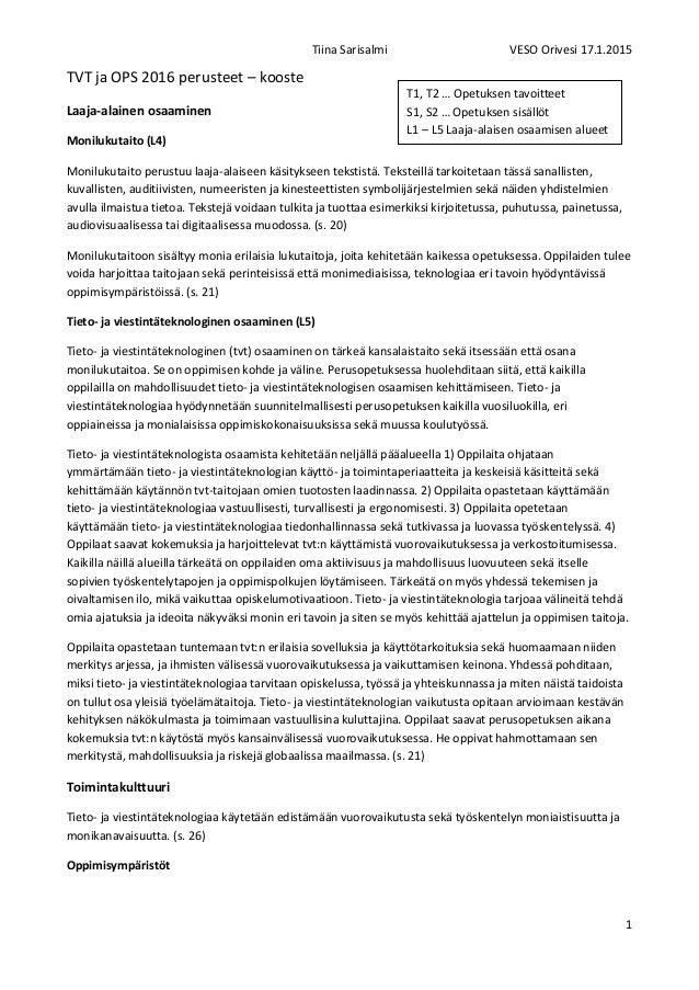 Tiina Sarisalmi VESO Orivesi 17.1.2015 1 TVT ja OPS 2016 perusteet – kooste Laaja-alainen osaaminen Monilukutaito (L4) Mon...
