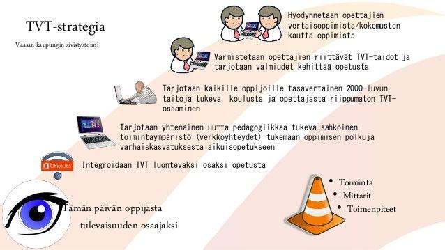 TVT-strategia Vaasan kaupungin sivistystoimi Tämän päivän oppijasta tulevaisuuden osaajaksi Integroidaan TVT luontevaksi o...