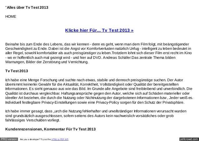 """""""Alles über Tv Test 2013  HOME                                                          Klicke hier Für... Tv Test 2013 » ..."""