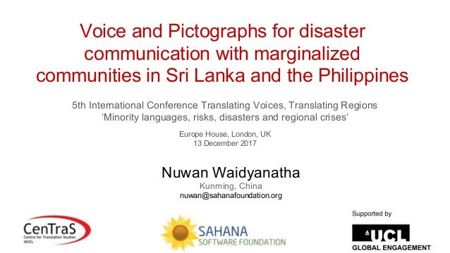 Voice and Pictographs for disaster communication with marginalized communities in Sri Lanka and the Philippines 5th Intern...