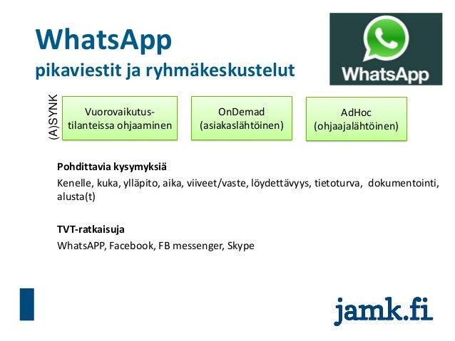 WhatsApp pikaviestit ja ryhmäkeskustelut Pohdittavia kysymyksiä Kenelle, kuka, ylläpito, aika, viiveet/vaste, löydettävyys...