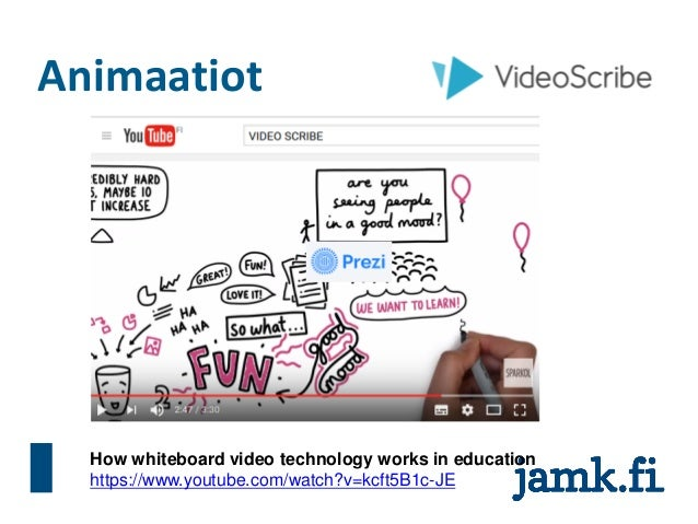 Animaatiot How whiteboard video technology works in education https://www.youtube.com/watch?v=kcft5B1c-JE