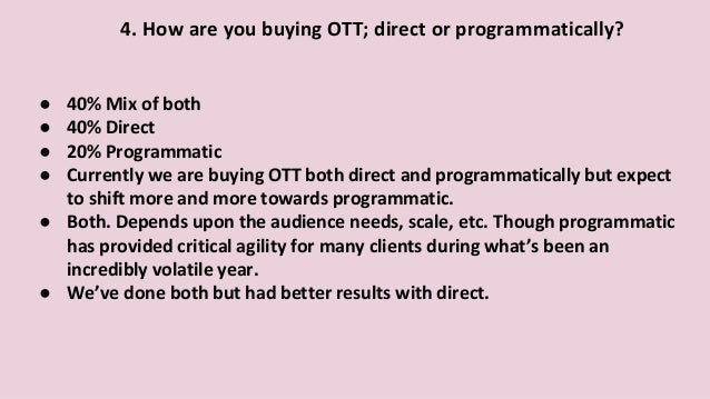 ● 40% Mix of both ● 40% Direct ● 20% Programmatic ● Currently we are buying OTT both direct and programmatically but expec...